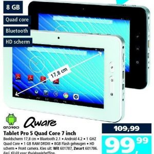 SHOWMODELLENVERKOOP!! Android 7 Inch Quad Core Bluetooth Tablet Met Camera Zwart!
